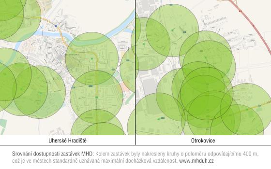 Dostupnost zastávek MHD Uherské Hradiště
