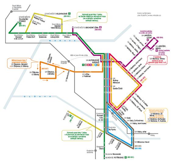Nové linkové vedení MHD UH od 15. 12. 2013
